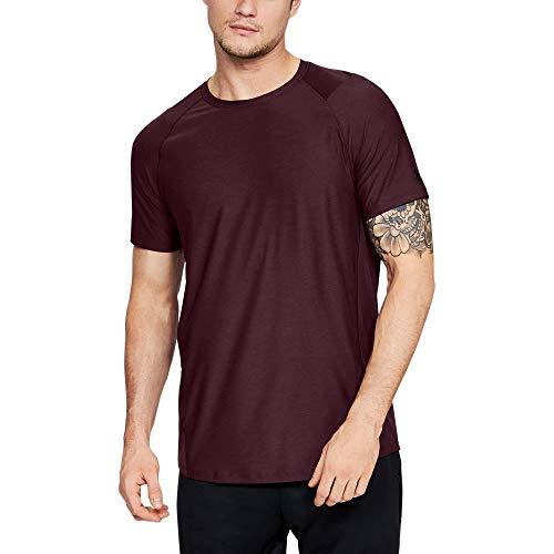 Under Armour Men's MK1 Short Sleeve T-Shirt, Dark Maroon (601)/Black, Medium (Armor Workout)