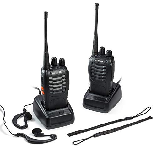 GoTalkie Two-Way Radios 400-470MHz CTCSS/DCS Walkie Talkies 2 FM Transceivers with Batteries, Chargers, Antennas, Belt Clips, Hand Straps & Earpieces Great for Adults & Kids