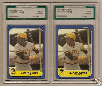 (2) 1986 Fleer Update Barry Bonds Rookie Ags Gem 10