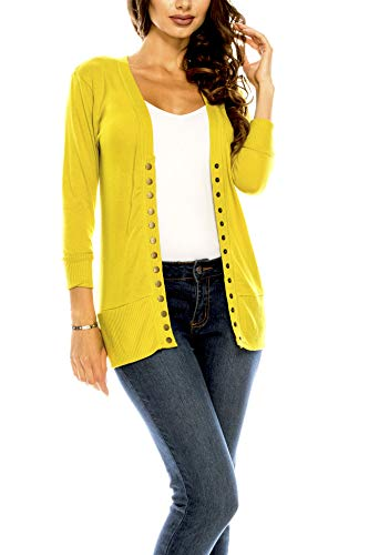 Women's V Neck Cardigan Snap Button 3/4 Sleeve Sweater with Ribbed Detail Collection Plus Size [S-3X] Wasabi Medium