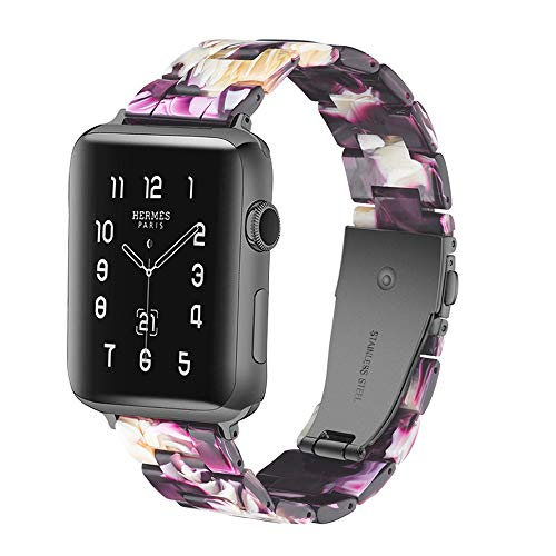 Caunedy Resin Watch Band for Apple Watch Series 4 3 2 1 with Stainless Steel Buckles Fashion Smart Watch Wristband Strap Replacement Apply to 38mm 40mm 42mm 44mm Apple iWatch for Men Women