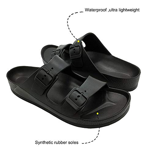 LuffyMomo Adjustable Slip on Eva Double Buckle Slides for Womens Mens (6 B (M) US Women / (Insole Length) 9.45 inch, Black) by LuffyMomo (Image #5)