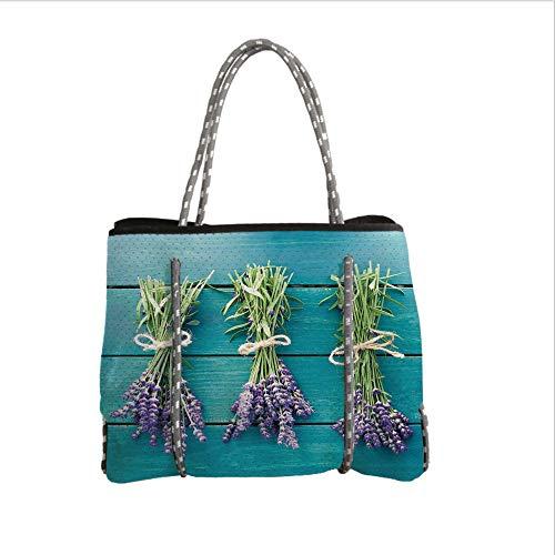 iPrint Neoprene Multipurpose Beach Bag Tote Bags,Lavender,Fresh Lavender Bouquets on Blue Wooden Planks Rustic Relaxing Spa Decorative,Sky Blue Lavender Green,Women Casual Handbag Tote Bags