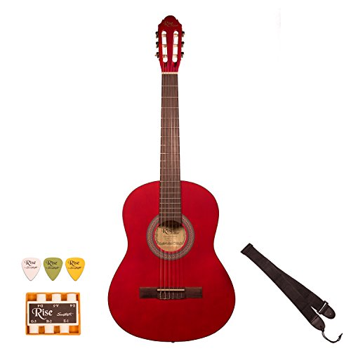 Rise by Sawtooth ST-RISE-CL-3/4-R 3/4 Size Beginner's Acoustic Guitar with Accessories, Satin Red Stain by Rise by Sawtooth