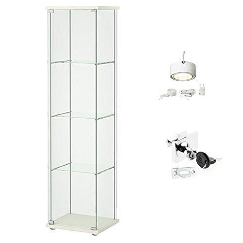 Ikea Detolf Glass Curio Display Cabinet White, Lockable, ...