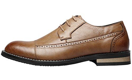 Santimon Scarpe Da Uomo Brogue Modern Classic Lace Up Scarpe Da Cerimonia Uomo Formale Oxford Marrone Chiaro