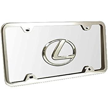 Lexus 3D Chrome Logo on Black Metal License Plate with Chrome Accent Frame
