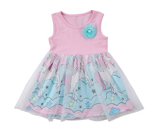 Rush Dance Boutique Princess Girls Birthday Celebration Tutu & Top Set (3T, Pink Unicorn Dress)