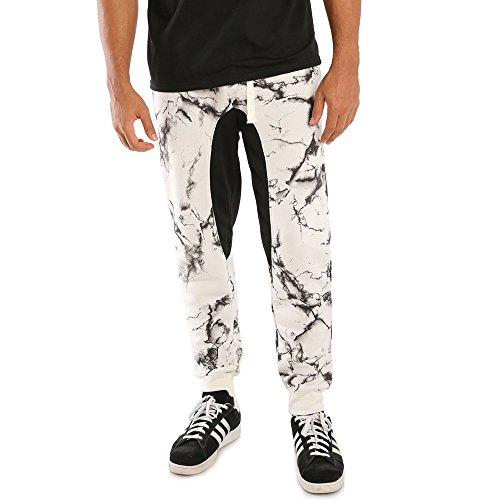 Vibes Gold Label Men Ecru Fleece Marble Print Jogger Pant Drawstring Adult Male