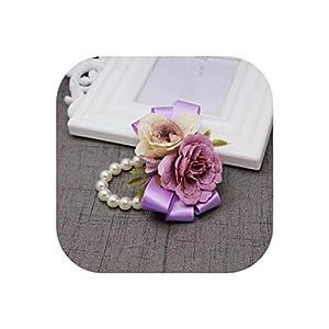 Artificial Flowers Groom Boutonniere Bride Wrist Corsage Women Hand Wedding Flower Party Suit Decoration Wr13 90