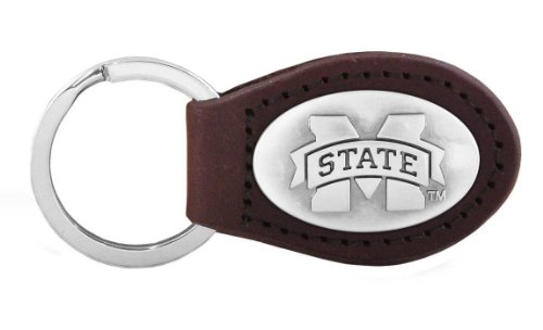 NCAA Mississippi State Bulldogs Zep-Pro  Leather Concho Key Fob, Brown