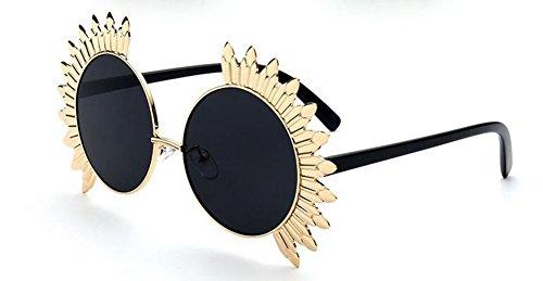 polarisées retro B rond Noir Lennon soleil métallique cercle lunettes du Frêne en style de vintage de inspirées Morceau fcEwTqCR