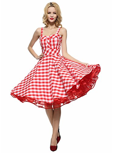 Maggie Tang Women's 1950s Vintage Rockabilly Dress Red Checks Size 2XL