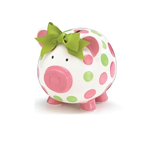 Girls Pink & Green Circles Pig Piggy Bank Green Bow Ceramic Personalized Baby Nursery Decor (Baby Piggy Bank Girl)
