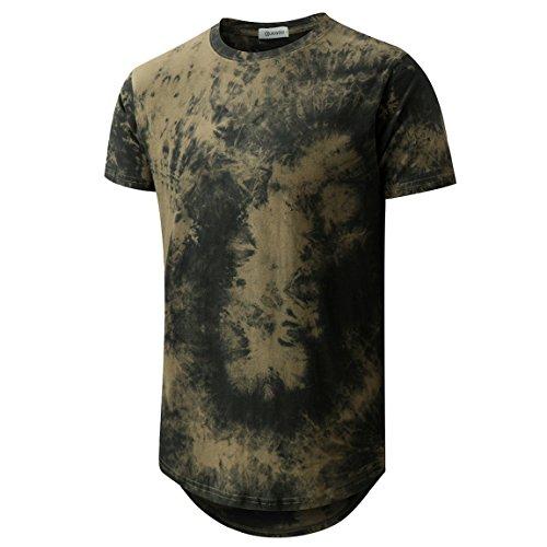 (Mens Hip Hop Tie-Dyed Hipster Curve Hem T Shirt(1803ZR ArmyGreen XL))