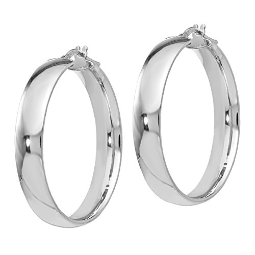Polished Flat Round Hoop (Leslie's Polished 925 Silver 5.9mm Wide Flat Classic Italian Hoop Earrings, 35mm (about 1 3/8