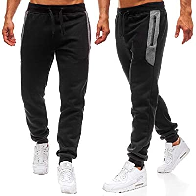 Men's Jogger Sweatpants Running Active Pants Sports Tapered Trousers Slim Fit Tracksuit Splicing Printed Overalls
