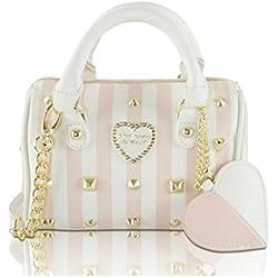 Betsey Johnson Heart Studs Mini Crossbody Satchel Bag - Blush Multi Stripe