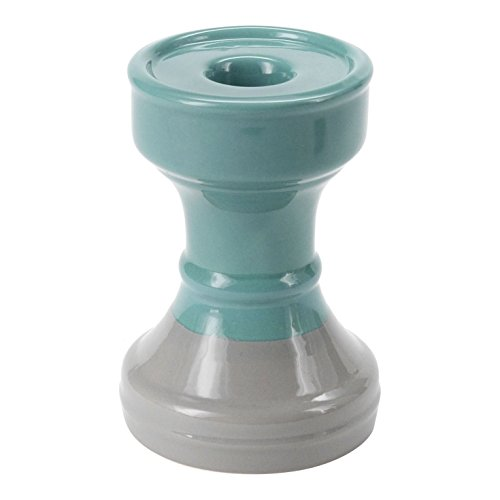 Ceramic Candlestick - FLOOR | 9 Ceramic Candle Holder, Teal with Gray Accents, 6 x 4 inch, For Pillar or Taper Candles, Short