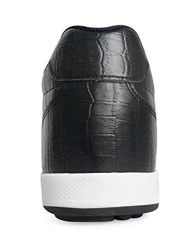 Mnx15 Mens Ascensore Scarpe Altezza Aumento 2.4 Luna Sneakers Nere Zeppa Tacco Alto Sneakers Nere