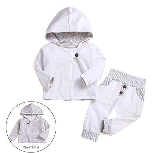 (Newborn Baby Boys Reversible Hoodie Sweatshirt Tops White Striped Pants Hat Double-Sided 2 in 1 Infant Outfits Clothes Set (White, 18-24Months))