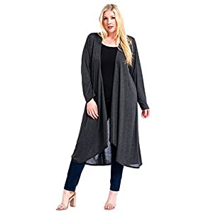 12 Ami Plus Size Basic Knit Solid Long Sleeve Maxi Cardigan – Made in USA