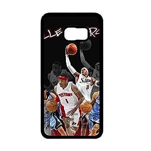 Vintage Style NBA Allen Iverson Logo Phone Case Cover For Samsung Galaxy S6 Edge Plus[S6 Edge Plus] Black Hard Case AIR32