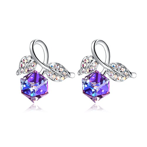 PLATO H Change Color Earrings Leaf Stud Earring With Swarovski Crystal Luxury Woman earrings
