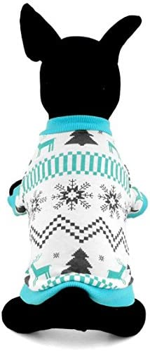 Zunea Pet Clothes Apparel for Small Dogs Cats 100/% Cotton Reindeer Print Shirt T-shirt Xmas Style Blue M