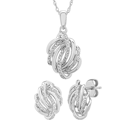 """1/10 CTTW Diamond (IJ/I2I3) Love Knot Box Set with 18"""" Silver Chain"""