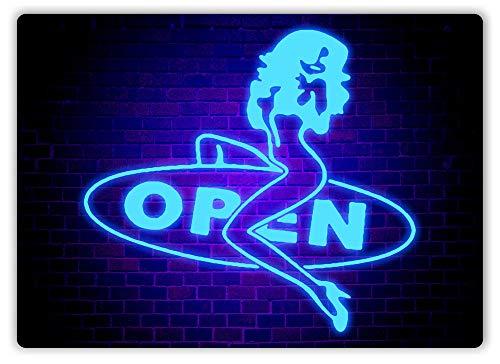 (Strip Club Open Sign -Blue Neon- Metal Wall Sign Plaque Art- Taboo Rude)