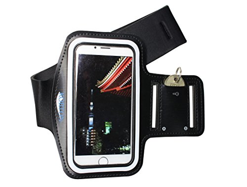 The Best Ninja Armband for Runners Korton - iPhone 6 Holder [4.7 inch] [Full touch screen control] for sports - running jogging cycling, key holder waterproof (protection from rain) stretchable fabric clear cover sweat-proof key-holder slot flexible anti-slip protection