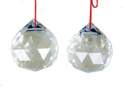 Amlong Crystal 50mm Clear Suncatcher Crystal Ball Prisms Feng Shui X 2Pcs With Gift Box
