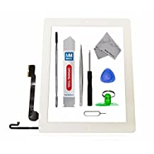 IPAD 4 WHITE Digitizer Touch Screen Front Display Glass Assembly - Includes Home Button and flex + Camera Holder + Pre Installed Adhesive Stickers and Professional Tool kit for easy installation now also incl. Bezel Frame