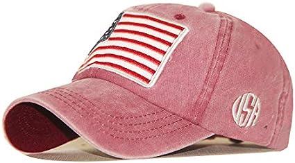 Sombrero Lavado y Letras Viejas Gorra de béisbol Gorra clásica de algodón con Bandera Americana