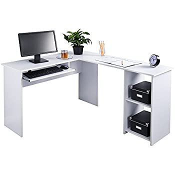 Fineboard L Shaped Office Corner Desk 2 Side Shelves, White