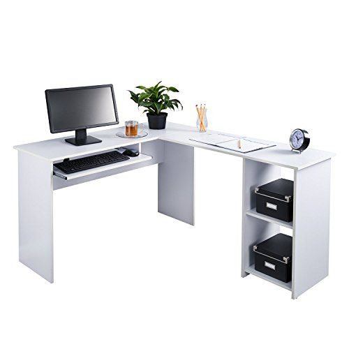 Fineboard L-Shaped Office Corner Desk 2 Side Shelves (White) ()