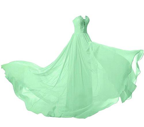 Abiball 134 BrautjungfernKleider Minzgruen Chiffon Lange Ball Spitze Abschlusskleider Abendkleider qHFEPwU
