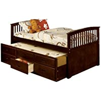 Furniture of America Giordani Mission Style Full Platform Bed with Twin Trundle and 3 Drawers, Dark Walnut Finish