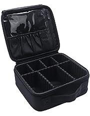Relavel Makeup Case Travel Makeup Bag Makeup Train Case Cosmetic Bag Toiletry Makeup Brushes Organizer Portable Travel Bag Artist Storage Bag with Adjustable Dividers (black white edge)
