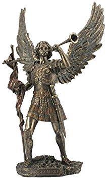 13 Inch Archangel - Saint Gabriel with Horn Cold Cast Bronze Figurine ()