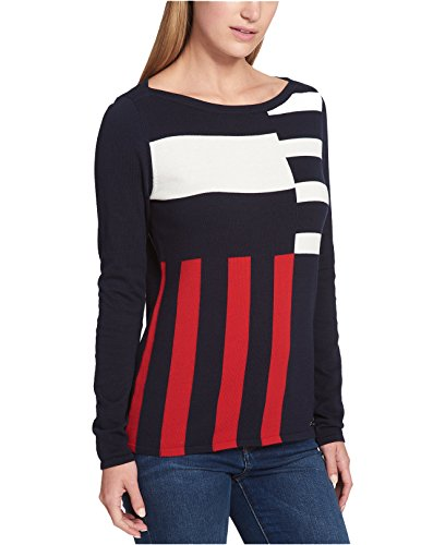 Tommy Hilfiger Women's Cotton Mixed-Stripe Sweater (Blue, X-Small)