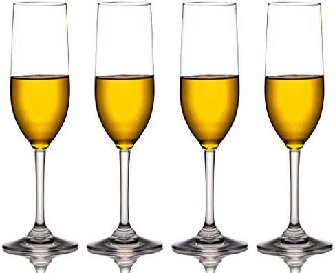 White Champagne Flutes or White Wine Glasses Unbreakable Reuse over 1000 times