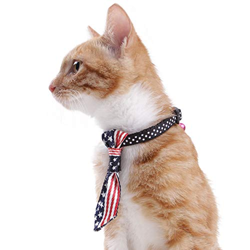 Cuteboom Cat American Tie Independence Day American Kitty Flag Tie Cat Suit Small Dog Bow Tie (USA Flag)]()