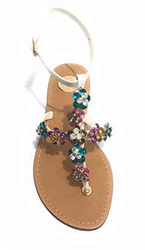 Guess Leslie - Sandalias de vestir de Piel para mujer BIANCO/ MULTICOLOR 37 EU