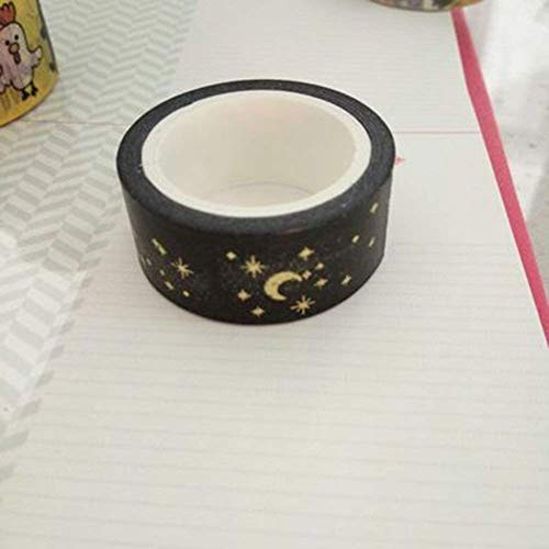 Potelin Black Moon Star Decorative Washi Tapes Washi Masking Tape for Crafts Scrapbooks DIY Crafts and Gift Wrapping Office Party Supplies Gold by Potelin (Image #1)