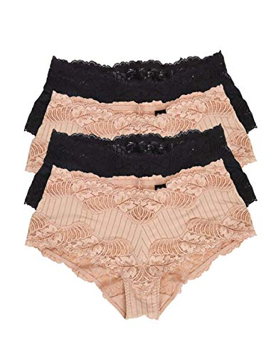 (Paramour by Felina Stripe Delight Hipster Panty Black Fawn 4-Pack 735353S4 Microfiber Blend Wide Cut Super Stretch Lace Modern Nylon Spandex)
