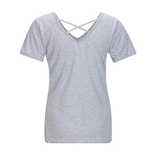 Shirts Uni Style Haut Courtes Mode Jeune Et T Spcial Slim T Manches Crossover Casual V lgant Manche Shirt Fit Cou Femme Shirts Grau Mode xqTwIIY6R
