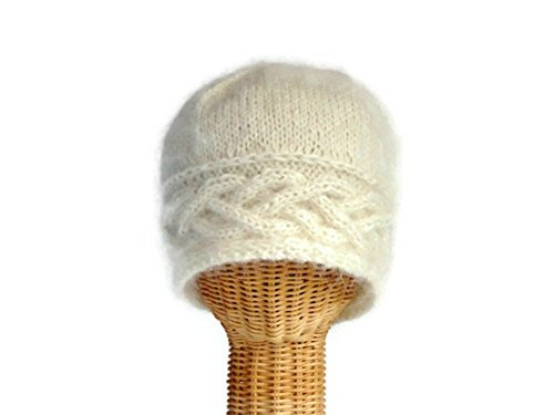 White Wool Knit Hat with Celtic Cable