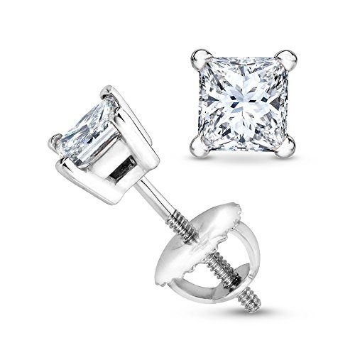 1 Carat 18K White Gold Solitaire Diamond Stud Earrings Princess Cut 4 Prong Screw Back (I-J Color, I1 Clarity)